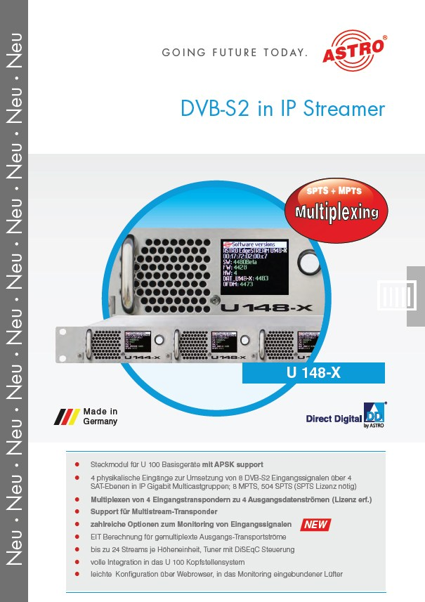 U 148-X - 8 x DVB-S2 in IP Streamer