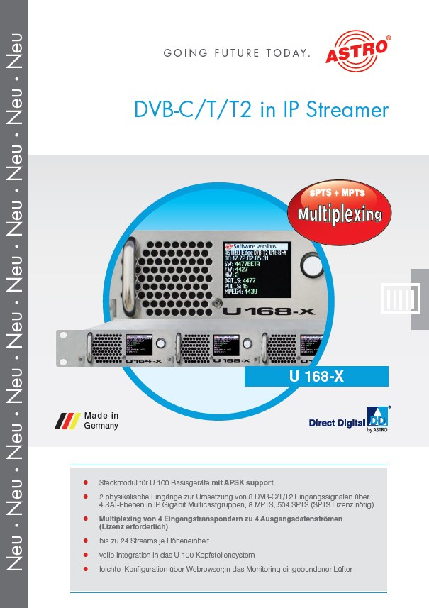 U 168-X - 8 x DVB-C/T/T2 in IP Streamer