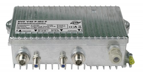Broadband amplifier with 65 MHz return path